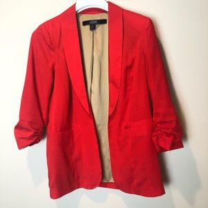 Kensie Red Open Blazer with 3/4 Ruched Sleeves